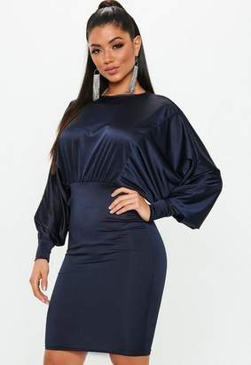 Missguided Navy Round Neck Batwing Midi Dress