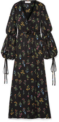 Caroline Constas Doria Floral-print Sateen Wrap Maxi Dress - Black