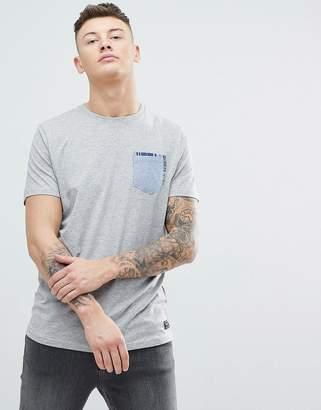 Brave Soul Chambrey Check Pocket T-Shirt