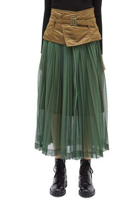 TOGA ARCHIVES Belted contrast waist pleated mesh skirt
