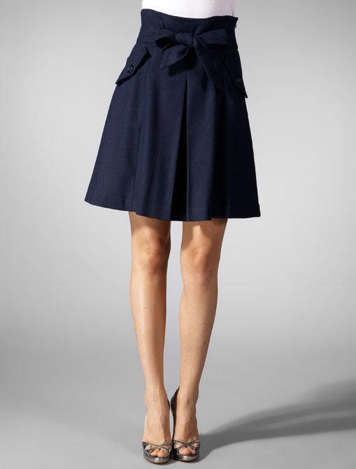 Kyumi High Waist Belt Skirt in Navy
