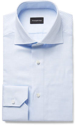 Ermenegildo Zegna Light-Blue Cutaway-Collar Checked Cotton Shirt