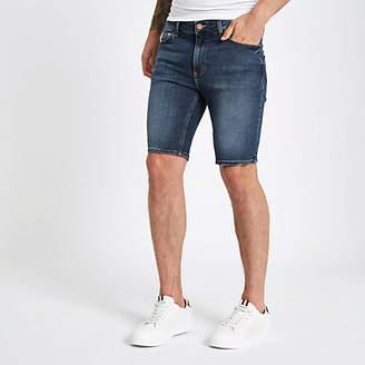 River Island Mens Mid Blue skinny fit denim shorts