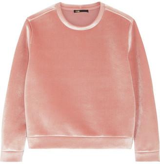 Maje Stretch-velvet Sweatshirt - Pink