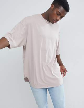 BEIGE ASOS DESIGN oversized longline t-shirt with deep curve hem in