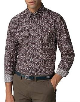 Ben Sherman Ls Multicolour Floral Shirt Camel