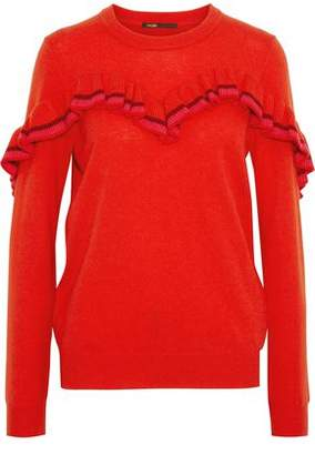 Maje Striped Ruffle-Trimmed Wool And Cashmere-Blend Sweater