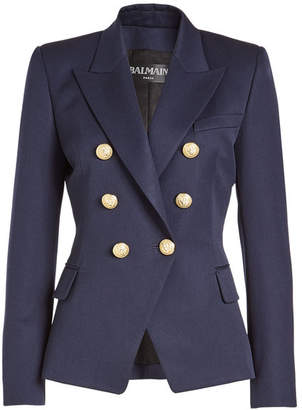 Balmain Virgin Wool Blazer with Embossed Buttons
