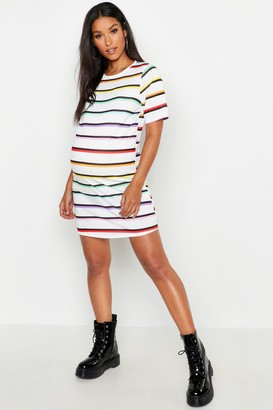 boohoo Maternity Rainbow Stripe T-Shirt Dress