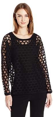 Anne Klein Women's Mesh Dot Lace Blouse