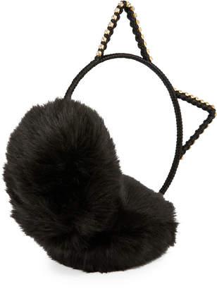 Neiman Marcus Cat Ear Crystal Faux-Fur Earmuffs, Black