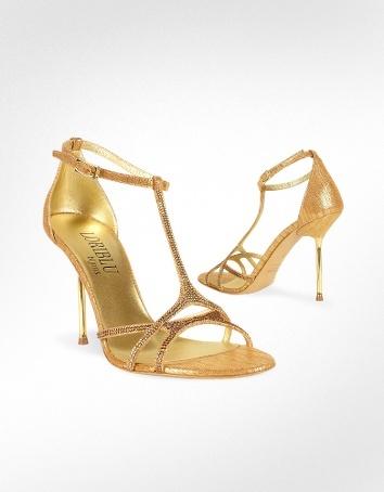 Loriblu Crystal T-strap Leather Evening Sandal