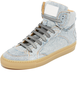 MM6 Patchwork Denim High Top Sneakers $420 thestylecure.com