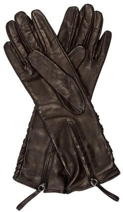 prada Prada Ruched Leather Gloves