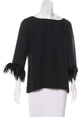 RED Valentino Feather-Accented Silk Top