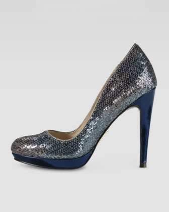 Cole Haan Chelsea High Sequin Pump, Smoke Oil Spill