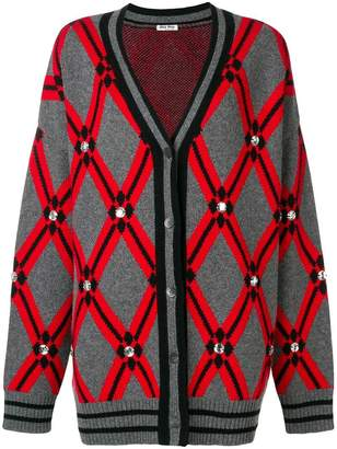 Miu Miu crystal embellished V-neck cardigan