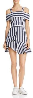 Finders Keepers Long Shot Striped Cold-Shoulder Mini Dress