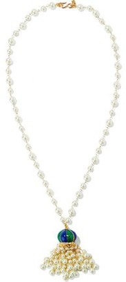Kenneth Jay Lane Gold-Tone Faux Pearl Crystal And Enamel Necklace