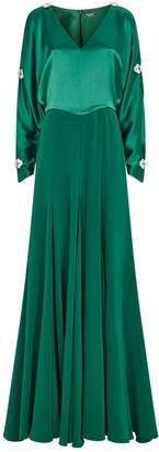 Alexis Mabille Satin Crystal-Embellished Gown