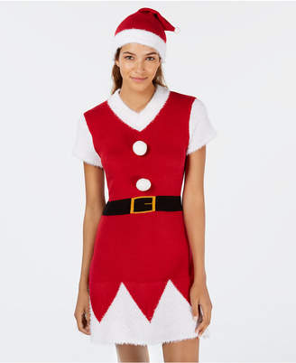 Planet Gold Juniors' Santa Sweater Dress & Hat