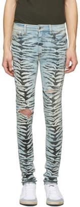 Amiri Indigo Tiger Destruction Jeans