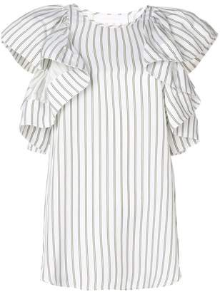 See by Chloe ruffle-sleeve stripe blouse