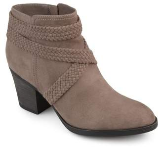Brinley Co. Womens Faux Suede Criss Cross Strap Almond Toe Stacked Heel Booties