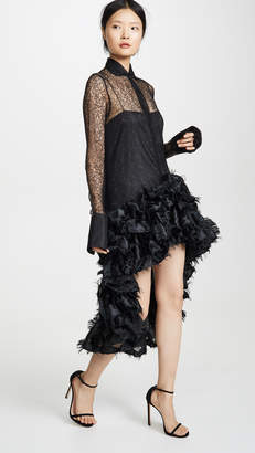 ANAÏS JOURDEN Black Lace Tunic Dress With Confetti Gathered Ruffles
