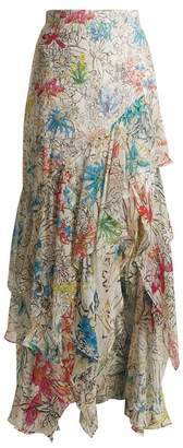 Peter Pilotto Asymmetric Floral Print Silk Georgette Skirt - Womens - White Print