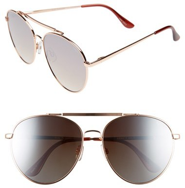Quay Women's Lickety Split 62Mm Aviator Sunglasses - Gold/ Brown Lens