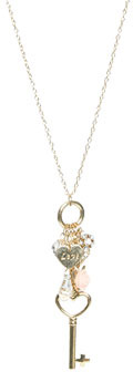 Wet Seal WetSeal Love Flower Charm Necklace Gold