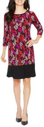 Ronni Nicole 3/4 Sleeve Dots Shift Dress