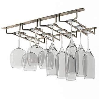 Wallniture Stemware Wine Glass Rack Holder Under Cabinet Storage Oil Rubbed Finish 10 Inch Deep