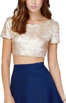 Fanvans Women's Sexy Sequins Crop Top Short Sleeve Backless Shirts S