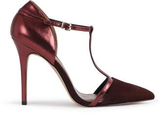 Reiss Our last order date for Christmas has now passed JOSEPHINE SUEDE POINT TOE T-BAR HEELS Burgundy