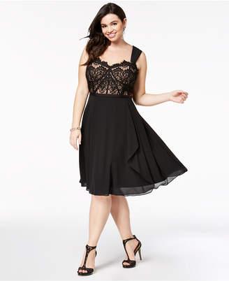 City Chic Plus Size Lace Fit & Flare Dress