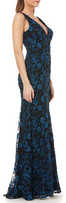 Carmen Marc Valvo V-Neck Sleeveless Embroidered Overlay Column Gown