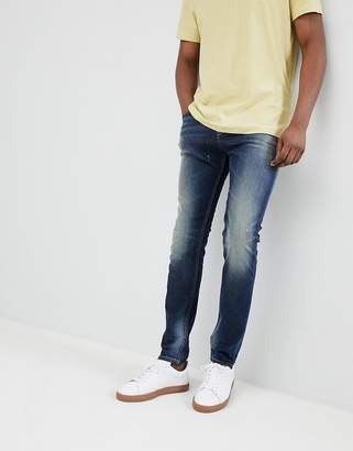 Benetton Skinny Fit Jeans with Abrasions in Mid Wash