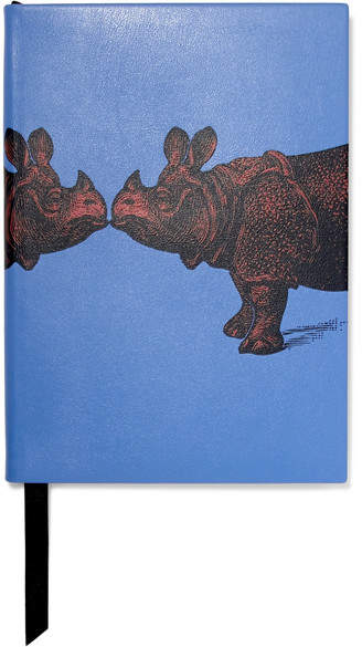 Printed Textured-leather Notebook - Sky blue