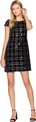 Vince Camuto Women's Plaid Sequin Velvet Shift Dress
