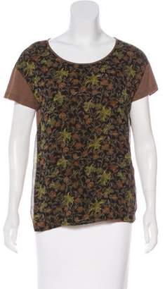 Dries Van Noten Silk-Paneled Floral T-Shirt