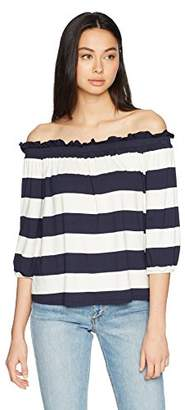 Three Dots Women's South Hampton Stripe Mid Loose Off Shoulder Top