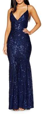 Quiz Sequin Cross Back Mermaid Gown