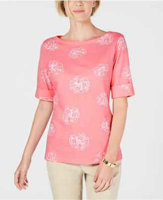 Karen Scott Printed Elbow-Sleeve Top