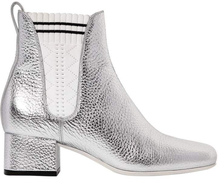 40mm Metallic Leather Chelsea Boots