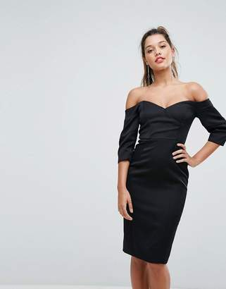 Forever New Midi Dress with Puff Sleeves