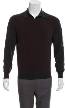 Hermes Extra Fine Merino Wool Long Sleeve Polo