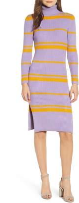 Moon River Stripe Turtleneck Sweater Dress
