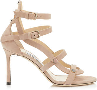 Jimmy Choo MOTOKO 85 Ballet Pink Suede Sandals with Stone Effect Studs